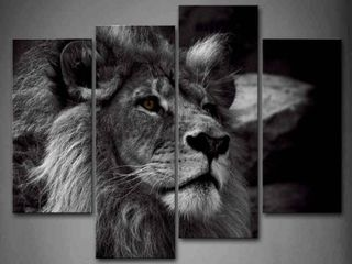 Black and White lion Head Portrait Wall Art Painting Pictures Print On Canvas  RETAIl  52 99