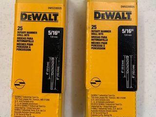 lOT OF 2  2 Packs of 25  DeWAlT 5 16  Rotary Hammer Drill Bits  RETAIl  139 98