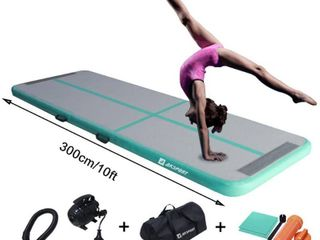 Air Track Gymnastics Tumbling Mat Inflatable Floor Mats with Electric Air Pump for Home Use Tumble Gym Training Cheerleading Parkour Beach Park Water 3 3 10 13 12 16 4 20 23 39ft  Mint Green  9 84   RETAIl  196 68