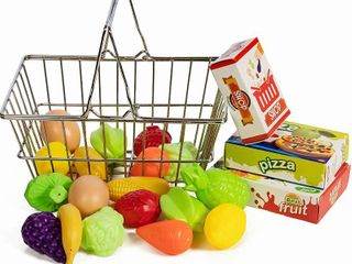 IQ Toys Stainless Steel Pretend Shopping Basket with Hard Plastic Play Food  21 Piece Fake Food and Accessories Set  RETAIl  14 99