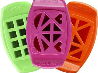 SET OF 3 FunBites Bite Size Food Cutter As Seen on Shark Tank Green Squares  Pink Hearts  Orange Triangles  RETAIl  21 99