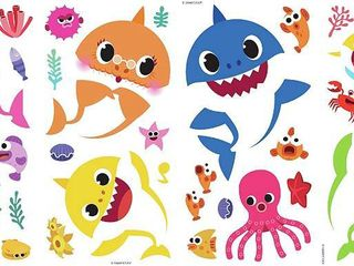 Pinkfong Baby Shark Peel And Stick Wall Decals  Set of 39   RETAIl  13 99