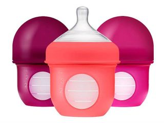 PACK OF 3 Boon NURSH Reusable Silicone Pouch Bottle  Air Free Feeding  4 Ounce with Stage 1 Slow Flow Nipple  RETAIl  24 99