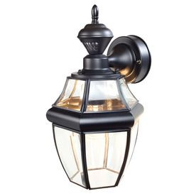 Secure Home Hanging Carriage 14 5 in H Black Motion Activated Outdoor Wall light  Crack in glass  small square back right side