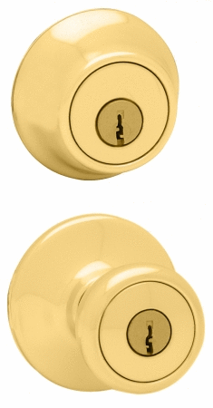 Kwikset 96950 163 Polished Brass Entry Knob with Double Cylinder Deadbolt Pack