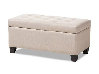 Michaela Upholstered Storage Ottoman Beige Modern and Contemporary Fabric   Baxton Studio