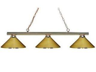 Sharp Shooter Brass 3 light Billiard light Fixture Retail 234 00  no glass shades