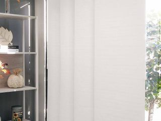Chicology Movie Night Cut to Size White Blackout Adjustable Sliding Panel Track Blind with 23 in Slats Up to 86 in  W x 96 in  l  Movie Night White