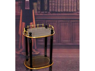 2 Tiered Telephone Table  Gold Marble and Cherry Finish  Espresso Brown