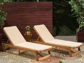 Nadine Outdoor Fabric Chaise lounge Cushion  Set of 2  by Christopher Knight Home Retail 163 99