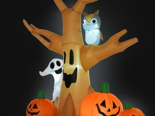 7 5  Tall Outdoor lighted Airblown Inflatable Halloween Decoration   Haunted Tree with Owl   Ghost   Pumpkins