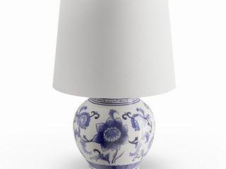 Copper Grove Brightsand Blue  White Ceramic Table lamp