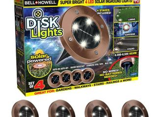 Bell   Howell Disk lights Outdoor Solar Garden lights  As Seen on TV  4 PACK   Bronze