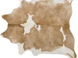 Pergamino palomino and white cowhide rug