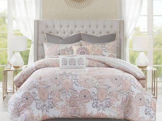 Queen 8pc lian Cotton Printed Reversible Comforter Set Blush