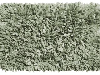 Soft Paper Shag Cotton Poly Blend Bathroom Rug  Olive