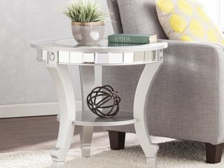 Silver Orchid Olivia Glam Mirrored Round End Table   Matte Silver Retail 215 99
