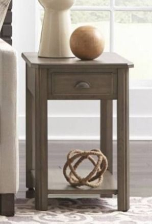 Solid wood rectangular end table grey