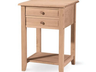 Square Solid Parawood Unfinished 2 drawer lamp Table Retail 88 99