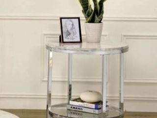 Furniture of America qule contemporary white and chrome end table