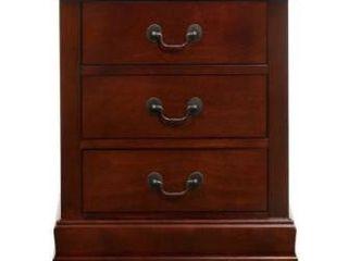 lyke home lucas 3 drawer cherry nightstand