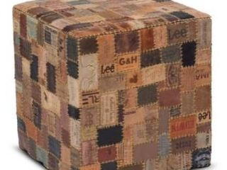 Up cycled Jean label mordern rustic pouf