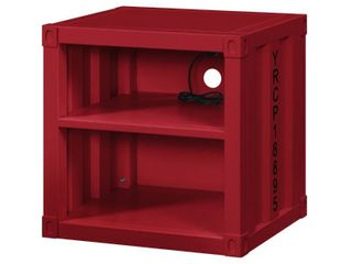 Metal Nightstand with 2 Open Compartment and USB Port  Red Retail 311 49