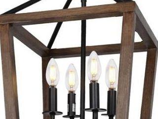 large Modern Rustic Wooden Farmhouse lantern 4 light Fixture Black Accents Kitch