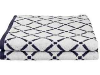 Miranda Haus Reversible Diamond Cotton Bath Towel  Set of 2