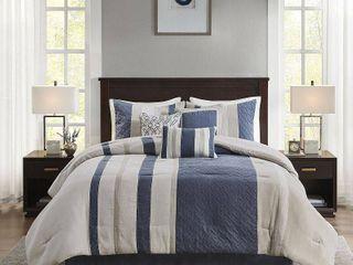 California King Eveline 7pc Faux Suede Comforter Set   Blue
