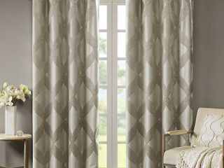 SunSmart Abel Ogee Knitted Jacquard Total Blackout Curtain  Brown  50X84