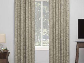 96 x50  Kamali Textured Striped Thermal Extreme Blackout Grommet Top Curtain Panel Beige   Sun Zero