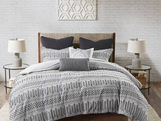 Full Queen Rhea Cotton Jacquard Duvet Cover Mini Set Gray
