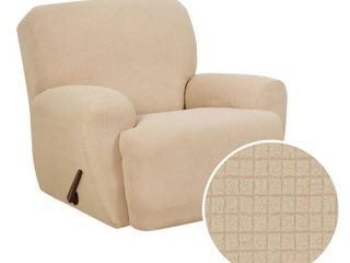 Zenna Home Small Rectangle Patterned 4 Piece Recliner Stretch Slipcover  Sand