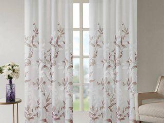 84 x50  Rosalie Burnout Printed Sheer Window Panel Purple