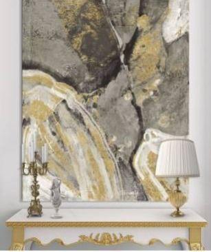 Designart  Glam Phoenix Neutral  Modern Glam Premium Canvas Wall Art   Grey