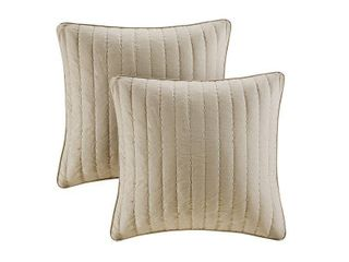 20  x20  Camila Quilted Cotton Square Pillow Pair Taupe