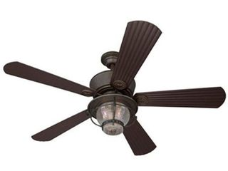 merrimack 52 in antique bronze downrod mount indoor outdoor ceiling fan with light kit and remote
