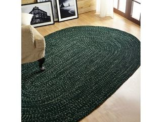 Better Trends Chenille Revesible Braided Rug 5  X 8  Diluth Emerald Solid