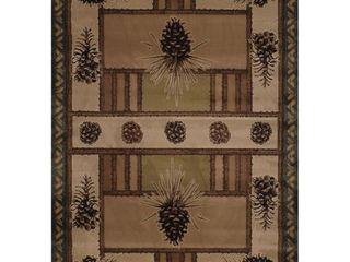 Westfield Home Wildwood Pine Border Hand carved Area Rug