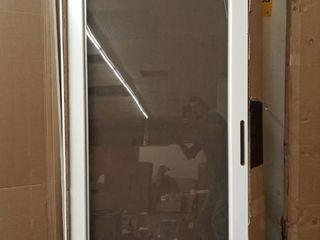 larson Storm Door White Brushed Nickel 32x81