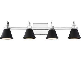 Nuvo lighting 62 1474 Polished Nickel   Matte Black Bette 4 light 32  Wide led Bathroom