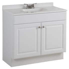 Project Source White Single Sink Vanity with White Cultured Marble Top Damaged  Vanity Top Broken  Common  36 in x 19 in
