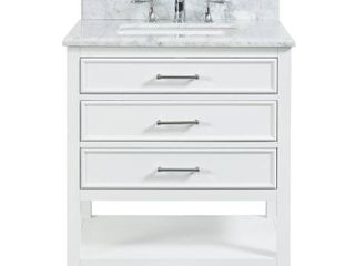 Tile Top Uptown 30 in  W x 22 in  D x 34 75 in  H Bath Vanity in Dove White with Marble Vanity Top in White with White Basin