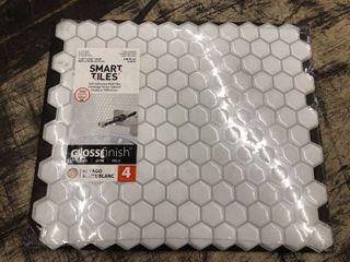 Smart Tiles Self Adhesive Wall Tiles Hexagon Gloss Finish White 4 Units