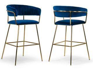 Set of 2 Anya Blue Velvet Barstool with Golden Metal legs  Retail 326 99