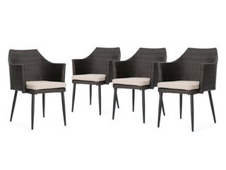 Iona Outdoor Wicker Dining Chair with Cushions  Set of 2by Christopher Knight Home  Retail 449 49