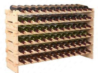 HomCom 72 Bottles Solid Natural Wood Wine Rack Storage   Retail 89 99