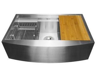 AKDY KS0239 33  x 22  x 9  Apron Farmhouse Handmade Stainless Steel Single Bowl Kitchen Sink   Silver  Retail 401 99