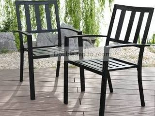 Black Finish Metal Chairs  set Of 2  Stackable Bistro Deck Patio Furniture Unit